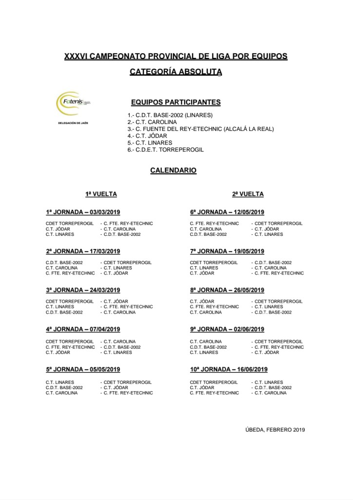 calendario provincial absoluto 2019
